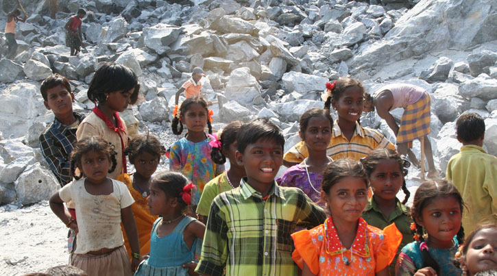 Children leaving their hard labor to go to school daily